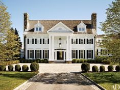 The Greenwich, Connecticut, home of former Sony executive Tommy Mottola and his wife, pop singer and actress Thalia; the couple commissioned Abelow Sherman Architects to design the Colonial-style structure and Katch I.D. to oversee the interiors | archdigest.com