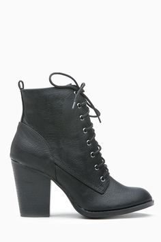 Black Faux Leather Chunky Lace Up Booties @ Cicihot. Booties spell style, so if you want to show what you're made of, pick up a pair. Have fun experimenting with all we have to offer!