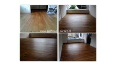 Eiken plank afgewerkt met Monocoat Walnut kleur..  www.postmusparket.nl