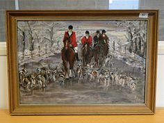 "57) ""Coming Home""  Hunting scene - Horses and hounds – oil on board  58 x 40cms Est. £20-£40"