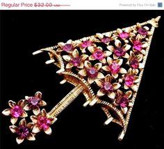 On Sale Today Vintage Pink Rhinestone Umbrella  Brooch Gold Tone Purple Pin Figural Christmas