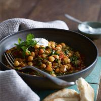 Spinach, tomato and chick pea curry - good for you, simple, quick. Can use curry powder if you don't have paste