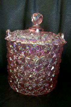 Carnival Pink Button Glass Candy Dish Ice Bucket | eBay