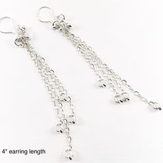Made to order in the length of your choice, these sterling silver tassel earrings are available up to long. A truly glamorous statement in delicate sterling chain and beads. Worn with long hair or short, these are stunning! Silver Tassel Earrings, Sterling Silver Earrings, Dangle Earrings, Gemstone Jewelry, Unique Jewelry, Dangles, Delicate, Glamour, Gemstones