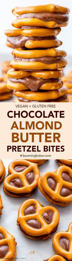 Chocolate Almond Butter Pretzel Bites (V+GF): an easy 3 ingredient recipe for a sweet snack packed full of protein and chocolate flavor. #Vegan #GlutenFree | http://BeamingBaker.com