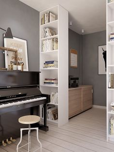 Piano Room Design Ideas For Small Spaces - Page 18 of 24 Home Music Rooms, Music Studio Room, Piano Living Rooms, Small Living Rooms, Piano Room Decor, Apartment Design, Sweet Home, Decoration, Home Decor