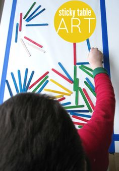 simple, keeps them busy.  group activity; supplies needed:  colored popsicle sticks, contact paper, painters tape