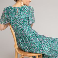 Floral print maxi dress with short butterfly sleeves and ruffled tiers , print on green background, La Redoute Collections | La Redoute Maxi Robes, Floral Print Maxi Dress, Boho Look, Butterfly Print, Short Dresses, Floral Prints, Leather Jacket, Style Inspiration, Casual