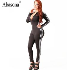 Abasona Winter zip up v neck bandage jumpsuits Striped side long sleeve skinny sportsuit Sexy night club rompers womens jumpsuit  #dress #streetstyle #instastyle #cute #swag #model #style #beautiful #glam #pretty
