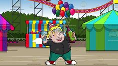 A Chubby Man Cheering For His Birthday At An Amusement Park With Roller Coaster:  A chubby blonde man wearing a striped pink with white party hat black button up shirt green pants red with white sneakers shuts his eyes and laughs while holding a wine glass in his right hand and a dark pink with green label bottle sealed by a brown cork. Set in a large roller coaster behind colorful tents and a stand that has balloons attached to it and is full of different colored balls.