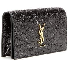 SAINT LAURENT Classic Monogram glitter clutch (4,440 ILS) ❤ liked on Polyvore featuring bags, handbags, clutches, monogrammed purses, glitter handbag, yves saint laurent, yves saint laurent handbags and glitter clutches