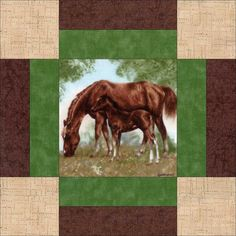 Our quilt kit is already precision pre-cut for accuracy. This stunning realistic horse quilt kit used two different quilt block patterns and can be worked up into a lovely country, western outdoors qu