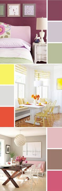 Whether you prefer sunny yellow, lilac purple, or soft peony pink, Kate of Centsational Style has a springtime color palette perfect for your tastes. See them all here: design Decorating Your Home, Interior Decorating, Interior Design, Interior Paint, Modern Interior, Bedroom Wall Colors, House Design Photos, Looks Cool, Decoration