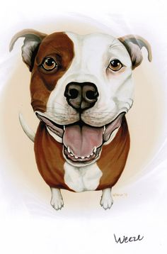 Pit Bull Pit Bull Art Pit Bull Terrier Pitbull by ArtbyWeeze Dog Lover Gifts, Dog Gifts, Dog Lovers, Pitbull Terrier, Pitbull Drawing, Bull Painting, Painting Canvas, Pitbull Pictures, Dog Portraits