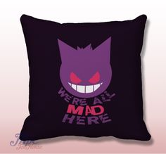 Pokemon Gengar Cat Smile Throw Pillow Cover. Fine quality USA handmade decorative throw pillow cover. Front and back of pillow cover are same. Hidden zipper closure. This pillow cover comes in indoor or outdoor fabric in the size of your choice. Indoor Throw Pillow Covers are made from 100% spun polyester poplin fabric, while the Outdoor Throw Pillow Covers are made from made from weather- and fade-resistant 100% spun polyester poplin fabric.