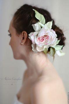 Купить Цветы для свадебной прически.Роза из шелка. - коралловый, белая роза, цветок в прическу