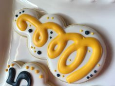 "Yellow UC BERKELEY, ""GO CAL!"" Confetti Cookie with original design from Sugarbelle and snowman cookie cutter from Angelcakesetc at Etsy!"