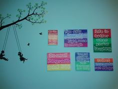 DIY painting wall deco #inspiration. The linked tutorial is not mine! Just an inspiration!