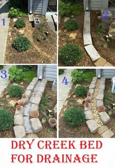 Dry creek bed for drainage drainage ideas, downspout ideas, drainage solutions, down spout Garden Yard Ideas, Backyard Projects, Lawn And Garden, Garden Projects, Backyard Ideas, Modern Backyard, Garden Edging, Garden Boxes, Patio Ideas