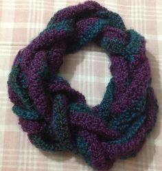 Crochet braided scarf