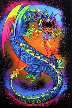 Fire Breathing Dragon - Fluorescent Black Light Flocked Poster InchesThe image features an Asian style dragon showing its fierceness breathing fire and displaying it serpent like tongue. Dragon Light, Fire Dragon, Dragon Art, Dragon King, Trippy Wallpaper, Retro Wallpaper, Psychedelic Art, Light Wall Art, Indie