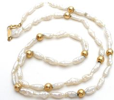 14K Yellow Gold Freshwater Pearl Necklace Vintage