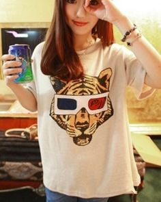 742c49b1 Hot Korean Lady Short sleeve Cute Girl Stylish T-shirt Tiger Casual Top  Blouse
