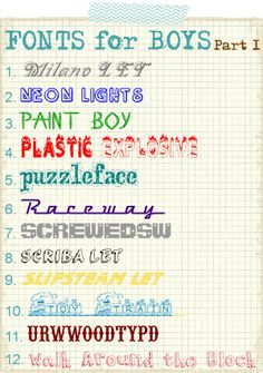 Fonts for Boys | Part 1