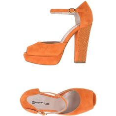 Garrice Sandals ($148) ❤ liked on Polyvore featuring shoes, sandals, orange, round toe shoes, buckle shoes, leather sole shoes, buckle sandals and orange sandals