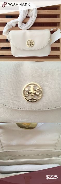 "Tory Burch Leather Crossbody-LOWEST TODAY ONLY! Tory Burch Robinson Safiano leather mini crossbody; style: 18169681, color: New Ivory. Brand new with tags. $275 retail. Make an offer! Measurements: 7"" X 5"" X 1.5"". Logo printed lined interior, two compartments and card slot on back wall, lined open slip pocket on the back of the bag. 21"" drop, detachable strap with swiveling lobster clasps. Tory Burch Bags Crossbody Bags"