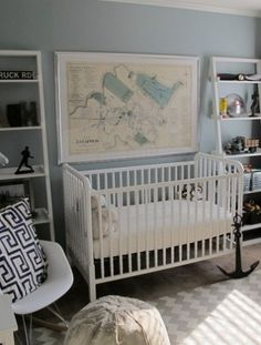 nautical nursery...love the map of the lake, which goes with the theme of the secret name Adam and I have chosen for our hypothetical child, non-conceived child