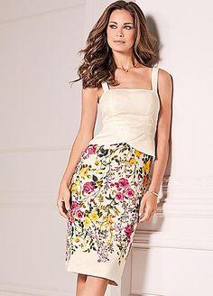 Floral Print Peplum Detail Jacquard Dress