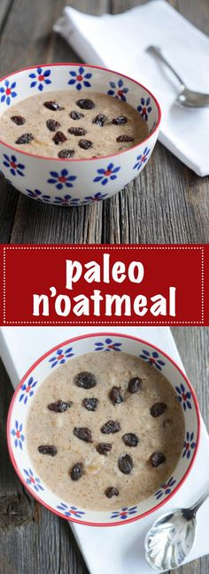 This Cinnamon Raisin Paleo Oatmeal is filling and naturally sweet. A tasty alternative for breakfast. The Oatmeal, Paleo Oatmeal, Oatmeal Yogurt, Overnight Oatmeal, Oatmeal Muffins, Oatmeal Recipes, Paleo Recipes, Low Carb Recipes, Real Food Recipes