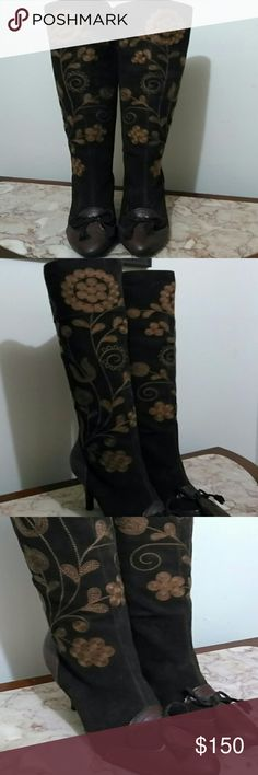 Embroidered Knee High Dress Boots These boots are suede, NIB and TTS. Sam Edelman Shoes Heeled Boots