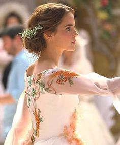 """Emma Watson as Belle, """"Beauty and the Beast"""" Emma Watson Beauty And The Beast, Emma Watson Beautiful, Belle Beauty And The Beast, Beauty Beast, Emma Watson Model, Emma Watson Linda, Emma Watson Style, Flowery Dresses, Wedding Hairstyles For Long Hair"""