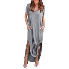 TAORE Plus Size Hippie Boho Womens Casual Summer Cocktail Party Dress Beach Long Maxi Dress (XL, S-Gray) at Kitchen Central Products Directory - br asian size s bust 88cm 34 6 length 140cm 55 1 br br asian size m bust 94cm 37 0 length 141cm 55 5 br br asian size l bust 100cm 39 4 length 142cm 55 9 br br asian size