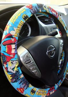 1 set of marvel comic print car seat covers and steering for Silla coche batman