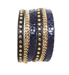 Zan Leather Bracelet-Electric Blue/Black