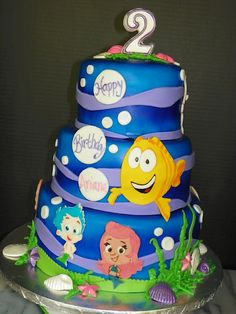 Bubble Guppies Birthday Cake @Lauren Stephenson Faith would like this! We watched the Bubble guppies the other day :)