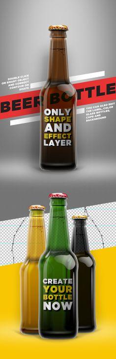 Beer Shape Bottle Mock-up PSD