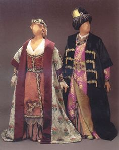 "Costume for Asteria and Bajazet, Act III, Handel's opera, ""Tamerlano"", 1995 Glimmerglass production, designed by theatrical designer, Judy Levin. ""Inspired by"", NOT period clothing."
