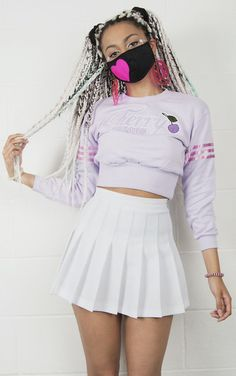 skirt kozy lookbook kawaii grunge cyber ghetto pleated skirt high waisted pastel girly ghetto girl cute outfits
