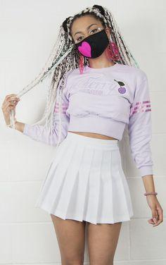 skirt kozy lookbook kawaii grunge cyber ghetto pleated skirt high waisted pastel girly ghetto girl cute outfits