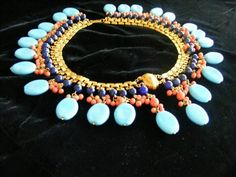 Stunning Vintage Signed MIRIAM-HASKELL Egyptian Pharaoh Collar Necklace