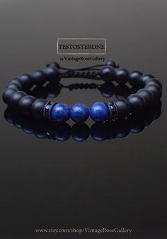 MENS BRACELET Testosterone VintageRoseGallery etsy Onyx | Etsy Men's Jewellery, Etsy Jewelry, Unique Jewelry, Bracelets For Men, Beaded Bracelets, Lapis Lazuli Bracelet, Fabric Tape, Handmade Items, Handmade Gifts