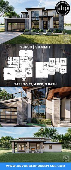 Modern home design – Home Decor Interior Designs Modern Architecture House, Modern House Design, Modern House Plans, Rendering Architecture, Modern Style Homes, Dream House Exterior, Dream House Plans, Prairie House, House Construction Plan