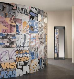We love the urban look of these graffiti tiles. A porcelain tile with urban graffiti art printed on it. Street Graffiti, Graffiti Wall, Banksy Graffiti, Street Art, Wall Murals, Urban Graffiti, Bath Trends, Wall Tiles Design, Home Office