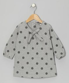 Take a look at this Gray Polka Dot Bow Tunic - Toddler & Girls by Petit Confection on #zulily today!