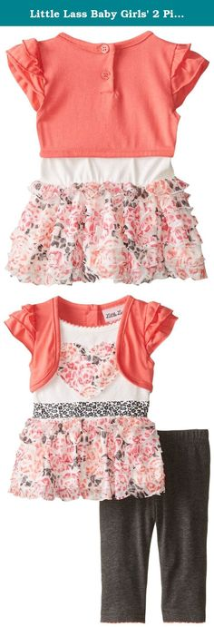 Little Lass Baby Girls' 2 Piece Shrug Set Printed Eyelash, Coral, 6-9 Months. Little lass offers cute and comfortable styles with quality construction. She is adorable in this 2 piece shrug set with a printed eyelash knit top, solid jersey knit shrug with ruffled sleeves and heathered knit legging.