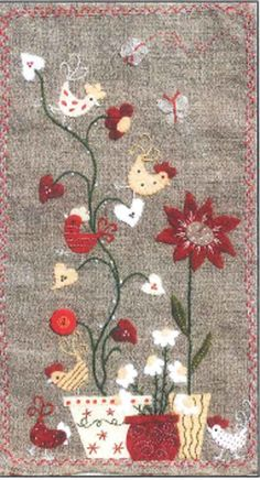 Poules Dans Les Coeurs (Hens In The Hearts) Pattern ADI-122 by Atelier D'Isabelle - Isabelle Biche. Wool applique and embroidery pattern.